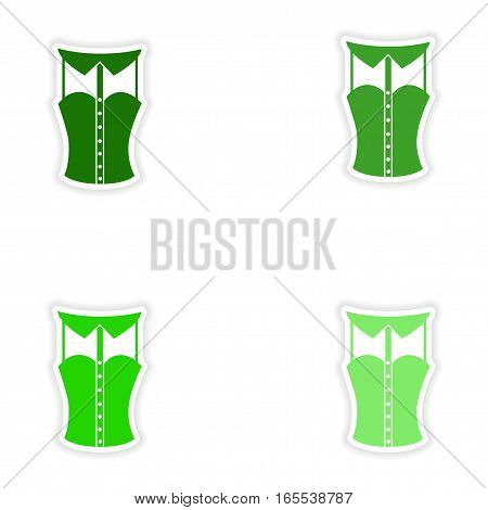concept stylish paper sticker on white background blouse