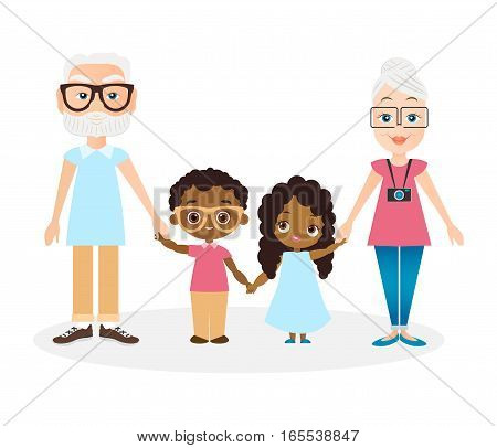 Grandparents with grandson and granddaughter. African american girl and boy. Vector illustration eps 10 isolated on white background. Flat cartoon style