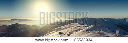 Panoramic View From Chopok Mountain At Southern Part Of Jasna Ski Resort, Slovakia. Filtered Image: