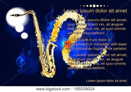 Saxophone, the text on the background of musical notes illustration poster