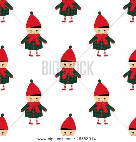 Cute little boy seamless pattern on white background. Boy in cute winter clothes walking outside vector illustration. Baby design for textile, wallpaper, fabric. Winter holidays card.