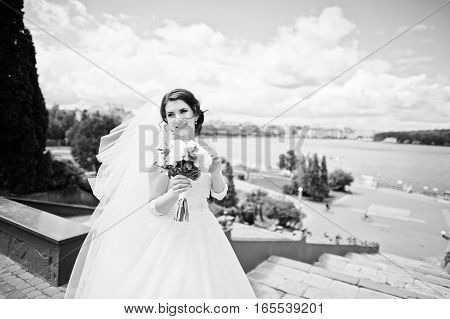Cheerfull Brunette Bride Against Blue Sky With Amazing Clouds Background City Lake. Black And White
