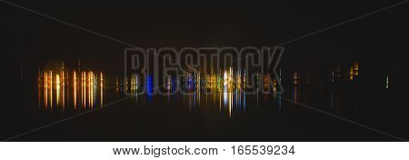 Abstract lights reflecting off the Marina in Male