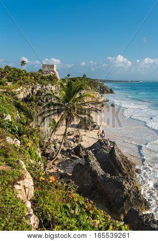 White sand beach and ruins of Tulum Yuacatan Mexico