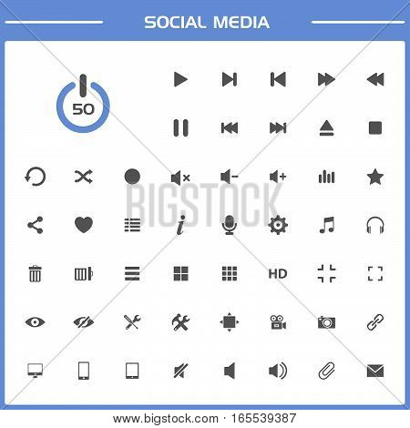 50 Social media icons set simple presentation on white and blue background