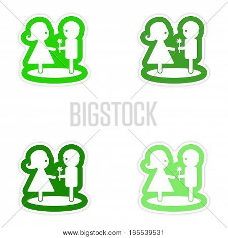 Set paper stickers on white background boy gives flower girl