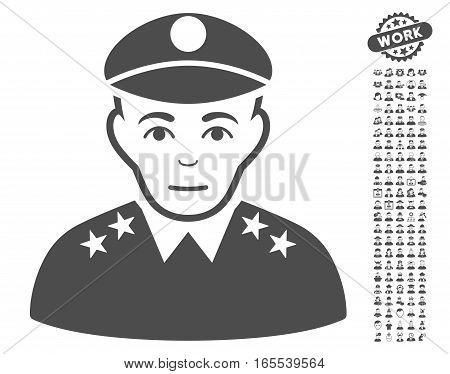 Army General icon with bonus avatar icon set. Vector illustration style is flat iconic gray symbols on white background.