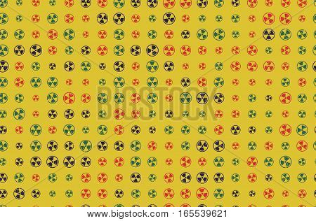 Vector Pattern 60s. Seamless Background With Nuclear Icon. Radioactive Symbol