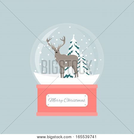 Merry christmas snow globe with a deer under the snow. New Year gift.