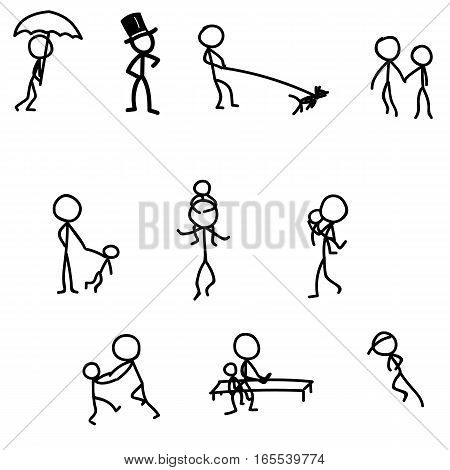 sticks walking games with baby vector illustration