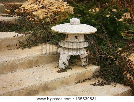 Stone lantern in japanese garden in Crimea, Ukraine