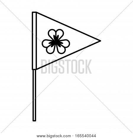 flag with Saint patricks clover icon vector illustration design