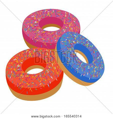 Delicious bakery flat icons of sweet cake on the white background. Restaurant dessert menu elements. Donut vector illustration