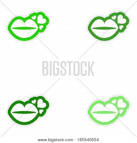 Set of paper stickers on white background kiss heart
