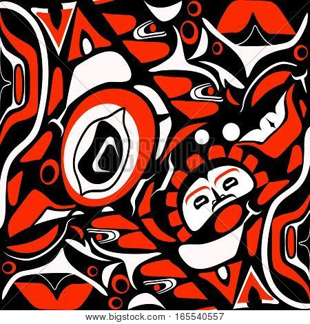Vector illustration abstract red background native north american on white