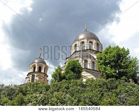 Domes of the church against the sky in Vilnius, Lithuania