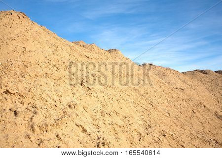 Summer landscape with yellow sand mountain under high blue sky with slightly clouds