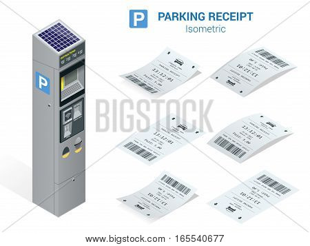 Isometric set of Parking tickets and carking meter. Flat illustration icon for web.