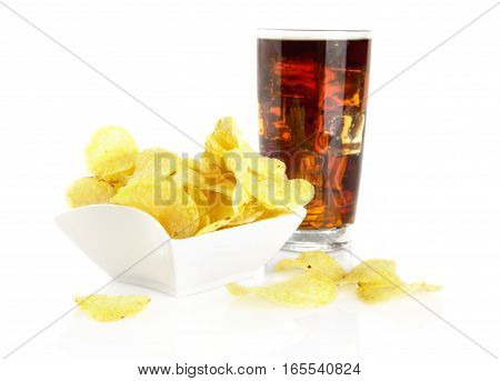 Salted Potato Chips In The Salas-bowl With Cola On White