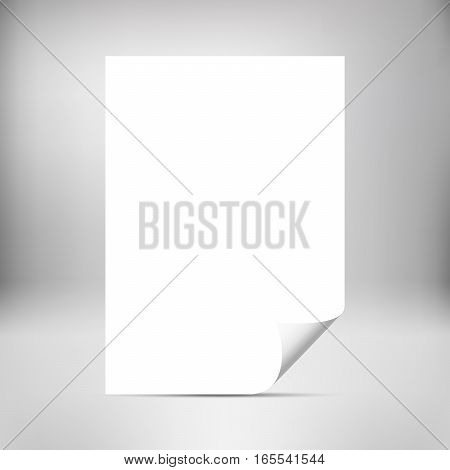 Empty paper sheet with curled corner isolated on studio background. Photo realistic paper with shadow. Mockup design. Vector illustration.