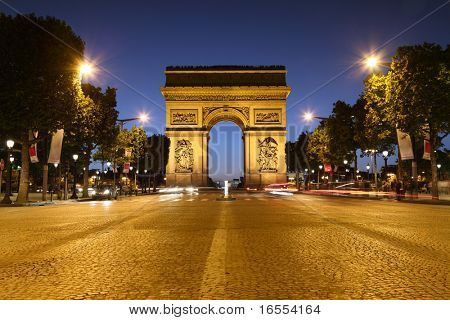 Avenue des Champs-Elysees in Paris leading up to the international landmark the Arc de Triomphe