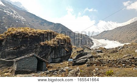 The hut on MBC (Machapuchare base camp) along the way to Annapurna base camp Nepal