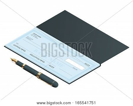 Bank Check with Modern Design. Flat illustration. Cheque book on colored background. Bank check with pen. Concept illustration pay, payment, buy