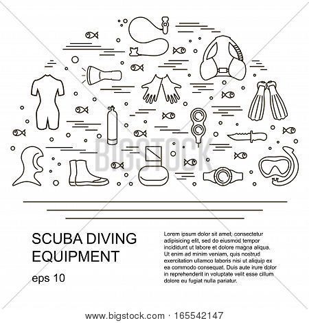 Scuba diving vector illustration, different equipment symbol. Place for your text.