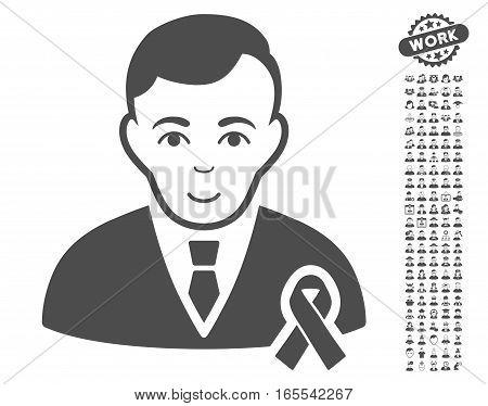 Gentleman With Mourning Ribbon icon with bonus avatar images. Vector illustration style is flat iconic gray symbols on white background.