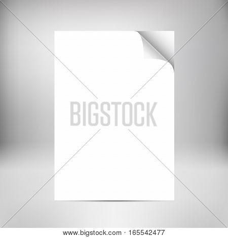 Close up empty paper sheets with curled corner isolated on background. Photo realistic paper with shadow. Vector stack of papers.