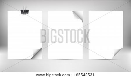 Close up empty paper sheets with curled corner isolated on gradient background. Photo realistic paper with paper clip and shadow. Vector stack of papers.