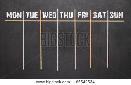 Weekly Calendar On Chalkboard Background