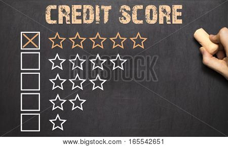 Best Credit Score Five Golden Stars.chalkboard