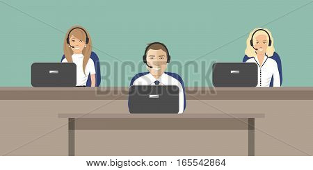 Web banner of call center workers. Young man and women in headphones sitting at the tables on a green background. It can be used for websites. Vector illustration.