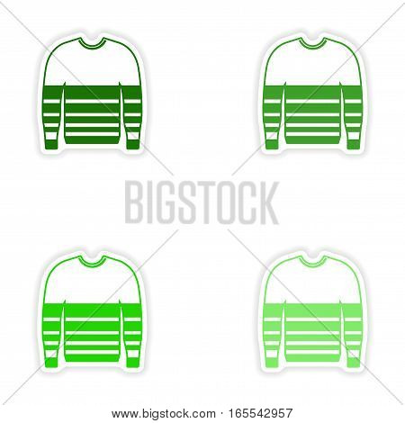 Set of paper stickers on white background sweater