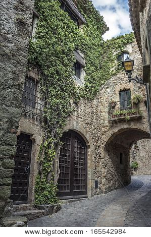 Spain Catalonia Girona Pals .The first mention Pals refer to the 9th century. Very beautiful medieval town . Stone streets buildings cozy little town Square an observation deck .