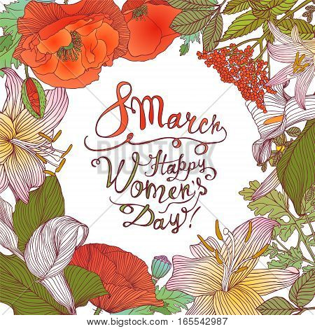 8 March. Happy Woman's Day! Vector Floral Frame