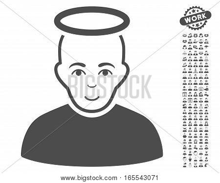 Holy Man icon with bonus avatar images. Vector illustration style is flat iconic gray symbols on white background.