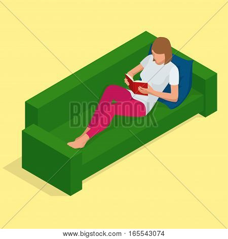 Young pretty woman lies on a sofa and reading a book enjoys of rest. Flat 3d vector isometric illustration.
