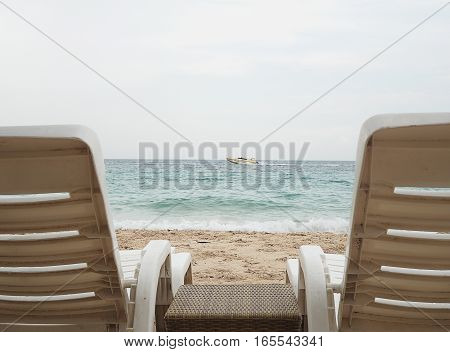 chair on the beach. relax vacation time in summer season.