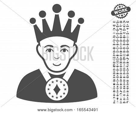 King pictograph with bonus occupation clip art. Vector illustration style is flat iconic gray symbols on white background.