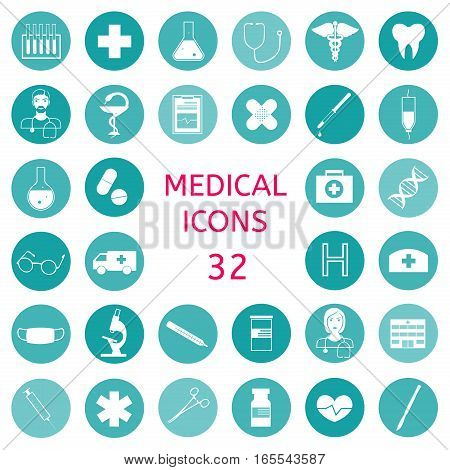 Set icons medical tools and healthcare equipment, science research and health treatment service. Modern design