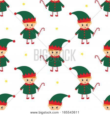 Christmas elf with candy cane seamless pattern on white background. Cute winter holidays background. Baby design for textile, fabric, decor.