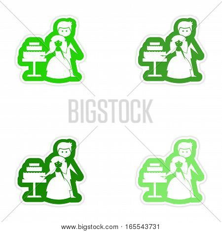 Set of paper stickers on white background Bride Groom Cake