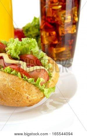 Hotdog On Plate With French Fries With Cola