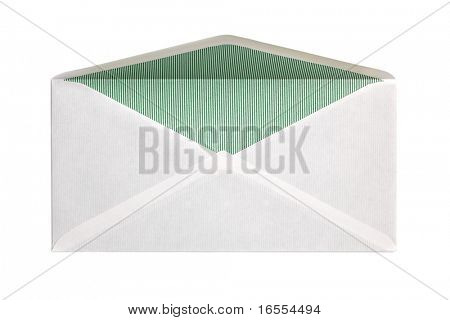 Blank open envelope isolated on white background