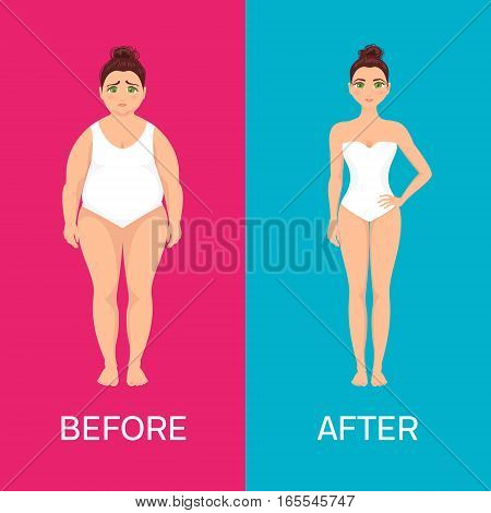 Woman before and after weight loss on red and blue background. Perfect body symbol. Successful diet and fitness concept. Ideal for gyms, health and sport magazines. Vector illustration.