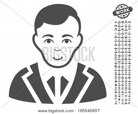Noble pictograph with bonus men design elements. Vector illustration style is flat iconic gray symbols on white background.