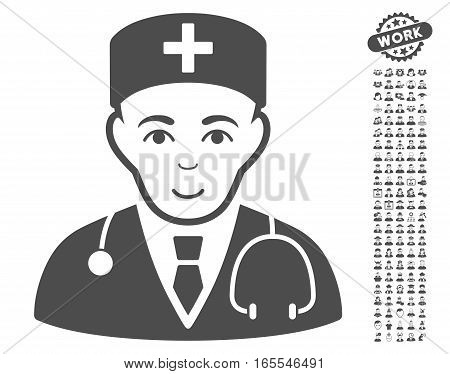 Physician pictograph with bonus people pictograms. Vector illustration style is flat iconic gray symbols on white background.