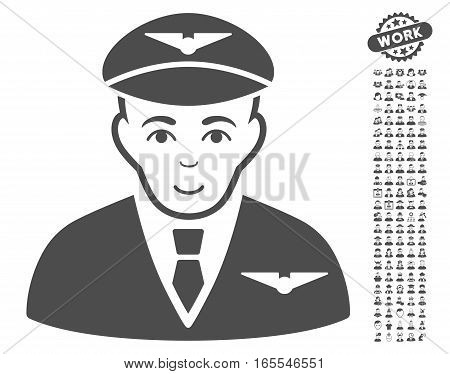 Pilot pictograph with bonus avatar pictograph collection. Vector illustration style is flat iconic gray symbols on white background.